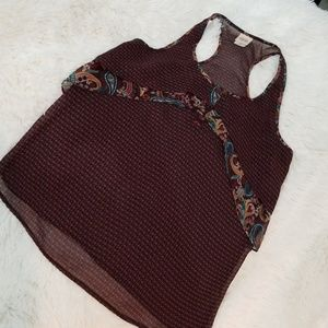 NWOT Sheer Printed Tank w/ Buttons